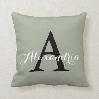 Desert Sage Grey Green Solid Color Monogram Throw Pillow