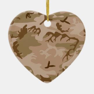 Desert Sand Camouflage Heart Ornament