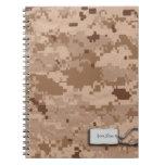 Desert Sand Digital Military Camouflage Spiral Note Book