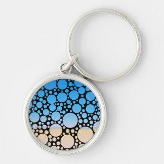 Desert Sand & Sky Blue Polka Dots Keychain