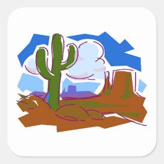 Desert Scene - Square Stickers