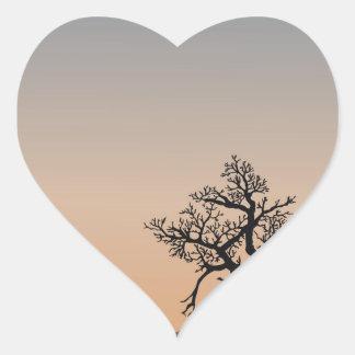 Desert Shrub Silhouettes Heart Sticker