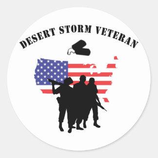Desert Storm Veteran Classic Round Sticker