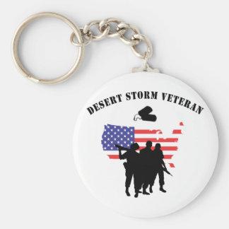 Desert Storm Veteran Basic Round Button Keychain