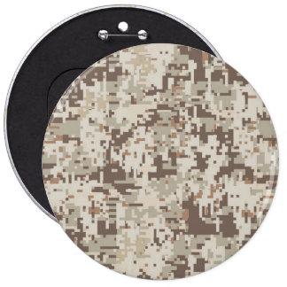 Desert Style Digital Camouflage Beige Decor Pinback Button