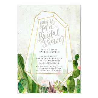 Desert Succulent Bridal Shower Invitation - Stone