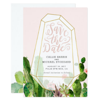 Desert Succulent Save the Date - Pink Card