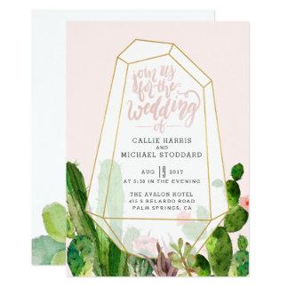 Desert Succulent Wedding Invitation - Pink