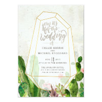 Desert Succulent Wedding Invitation - Stone