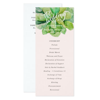 Desert Succulent Wedding Program - Pink