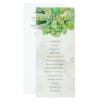 Desert Succulent Wedding Program - Stone