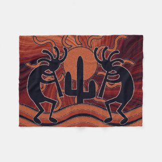Desert Sun Cactus Kokopelli Southwest Design Fleece Blanket