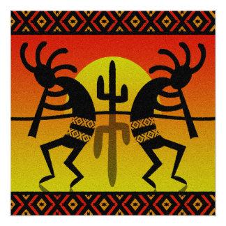 Desert Sun Cactus Kokopelli Southwest Design Perfect Poster
