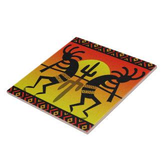 Desert Sun Cactus Southwest Kokopelli Ceramic Tile
