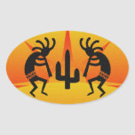 Desert Sun Cactus Southwest Kokopelli Oval Sticker