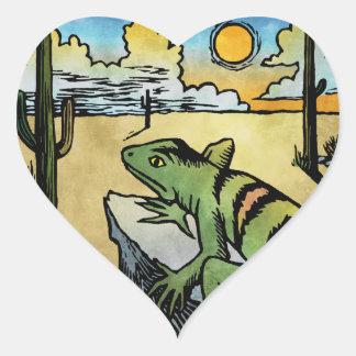 Desert Sunrise Heart Sticker