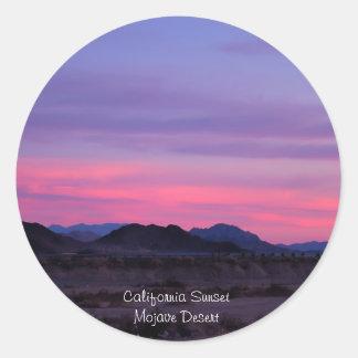 Desert Sunset Classic Round Sticker