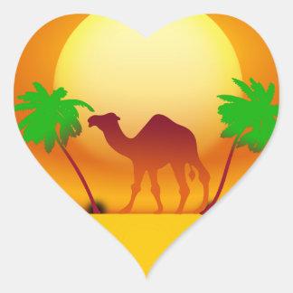 Desert Sunset Heart Sticker
