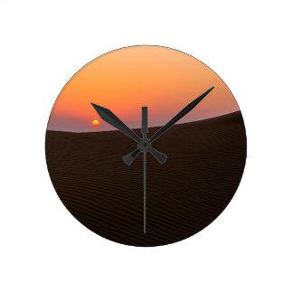 Desert sunset in Dubai Round Clock