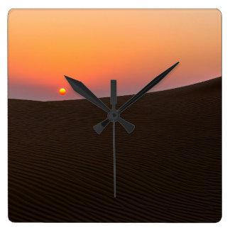 Desert sunset in Dubai Square Wall Clock