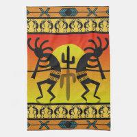 Desert Sunset Kokopelli Southwest Kitchen Towel