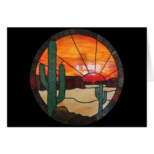 Desert Sunset Stained Glass Notecard | Zazzle
