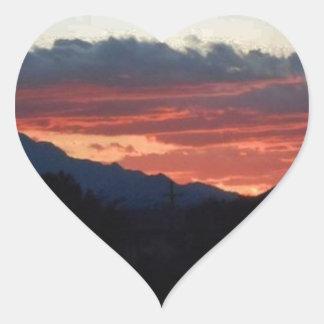 Desert Sunset with Hills Heart Sticker