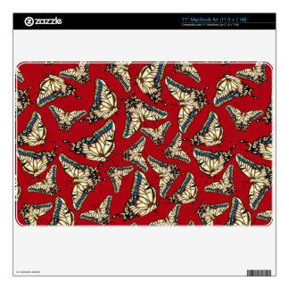 Desert Swallowtail Butterflies on Red MacBook Air Decals