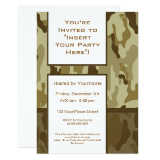 Desert Tan Military Camouflage Party Card