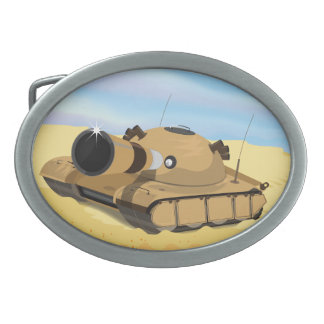 Desert Tank Oval Belt Buckle