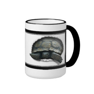 DESERT TORTOISE COMING OUT! RINGER COFFEE MUG