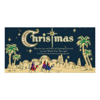 Desert Travelers Flat Christmas Greeting Card Photo Card