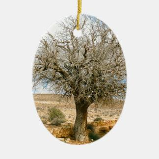Desert tree surviving the heat ceramic ornament