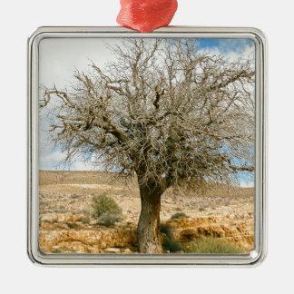 Desert tree surviving the heat metal ornament