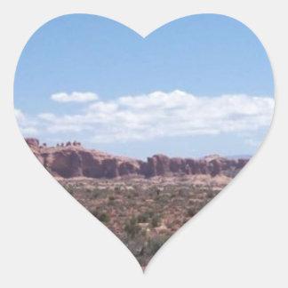 Desert View from the Distance Heart Sticker