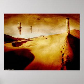Desert Watchtower - Grunge Poster