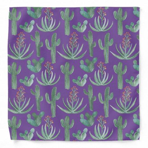 Desert Watercolor Cactus Succulents Green Purple Bandana