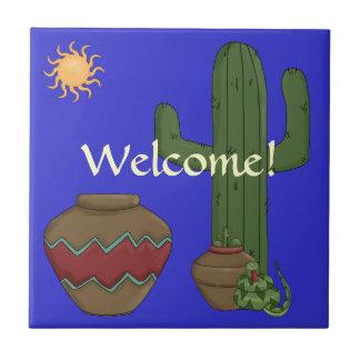 Desert Welcome Greeting - Southwest Snake Humor Tiles