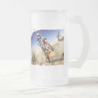 Desert Wheelie Motocross Frosted Glass Beer Mug
