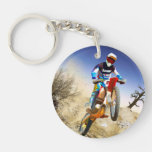 Desert Wheelie Motocross Single-Sided Round Acrylic Keychain