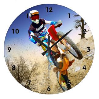 Desert Wheelie Motocross Large Clock