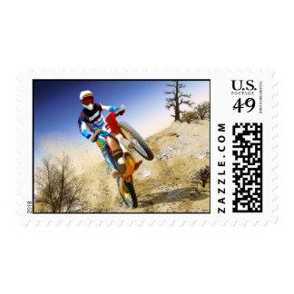 Desert Wheelie Motocross Postage Stamp