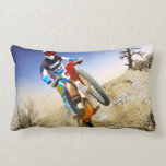 Desert Wheelie Motocross Throw Pillows