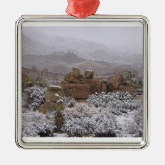 Desert Winter Square Metal Christmas Ornament