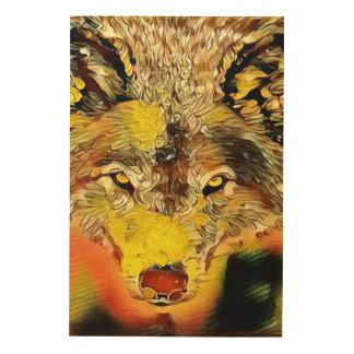 Desert Wolf Indie Airbrush Art Wood Wall Decor