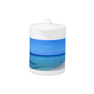 Deserted Cosumel Beach Calm Teal Water White Sand Teapot