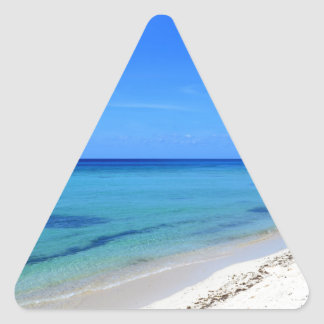 Deserted Cosumel Beach Calm Teal Water White Sand Triangle Sticker