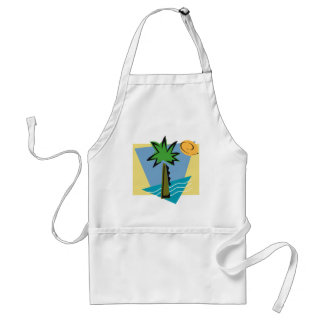 Deserted Island Graphic with Palm and Ocean Adult Apron