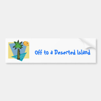 Deserted Island Graphic with Palm and Ocean Bumper Sticker