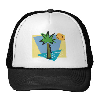 Deserted Island Graphic with Palm and Ocean Mesh Hats